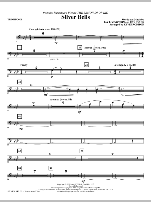 Silver Bells - Trombone Sheet Music