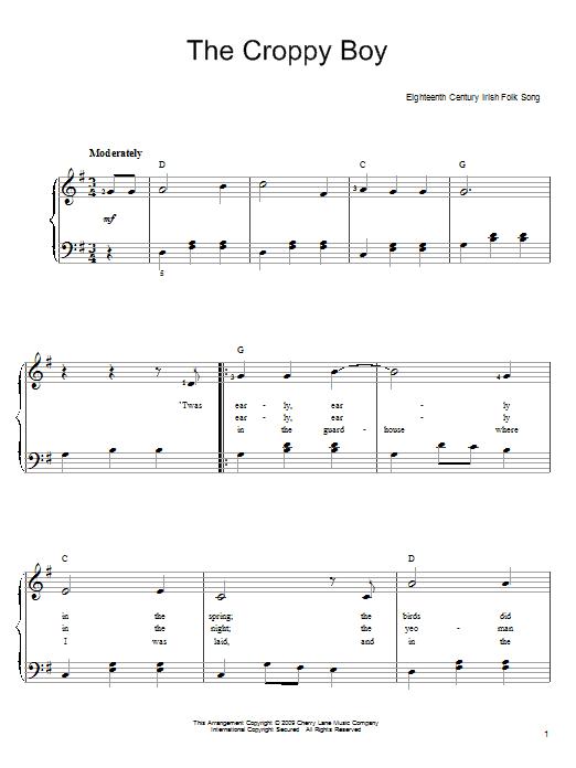 Partition piano The Croppy Boy de Irish Folksong - Piano Facile