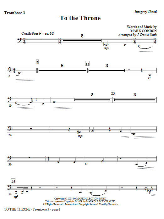 To The Throne - Trombone 3 Sheet Music
