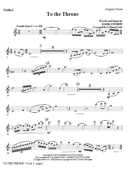 To The Throne - Violin 2 Sheet Music
