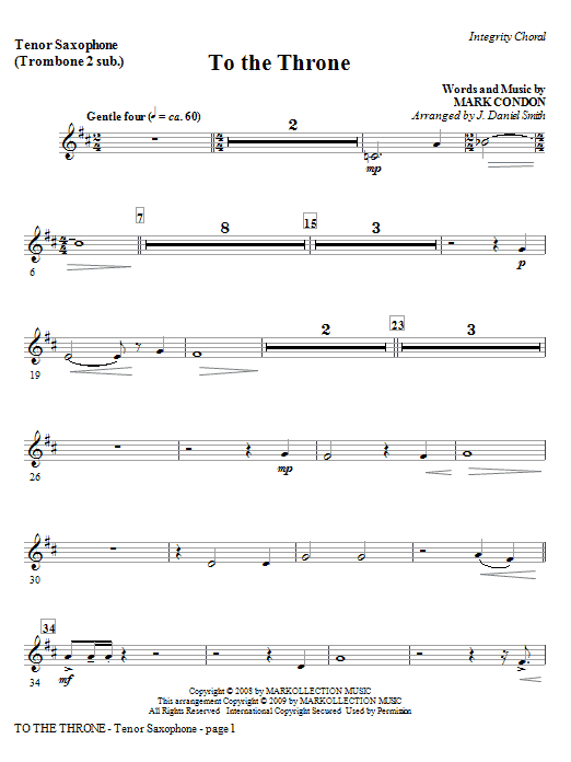 To The Throne - Bass Clarinet (sub Bass) Sheet Music