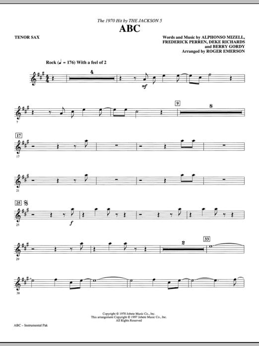 ABC - Tenor Saxophone Sheet Music