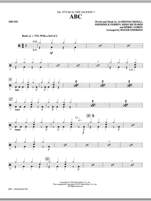 ABC - Drums Sheet Music