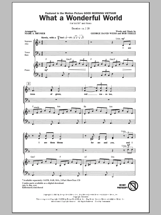 Partition chorale What A Wonderful World de Louis Armstrong - SATB