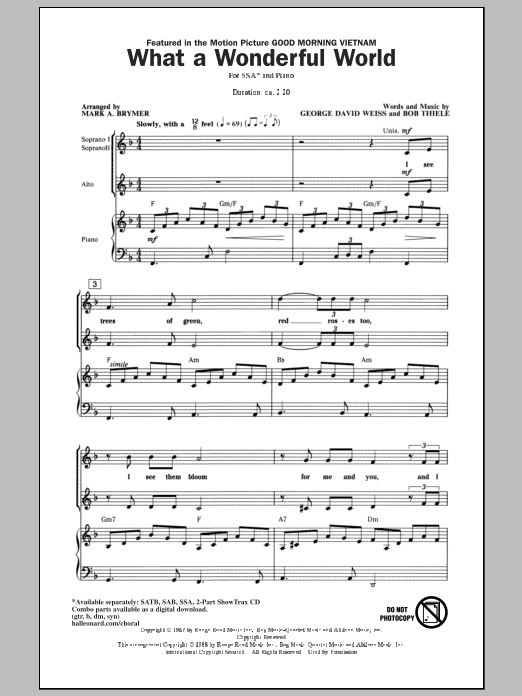 What A Wonderful World (arr. Mark Brymer) Sheet Music