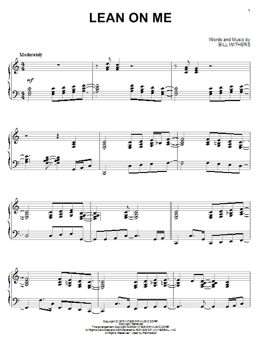 Lean On Me sheet music by Bill Withers (Piano u2013 72501)