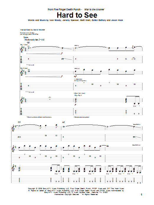 Tablature guitare Hard To See de Five Finger Death Punch - Tablature Guitare
