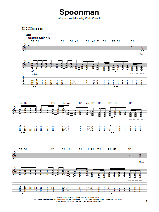 Tablature guitare Spoonman de Soundgarden - Autre