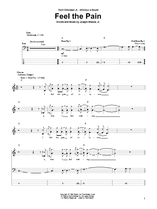 Feel The Pain (Bass Guitar Tab)