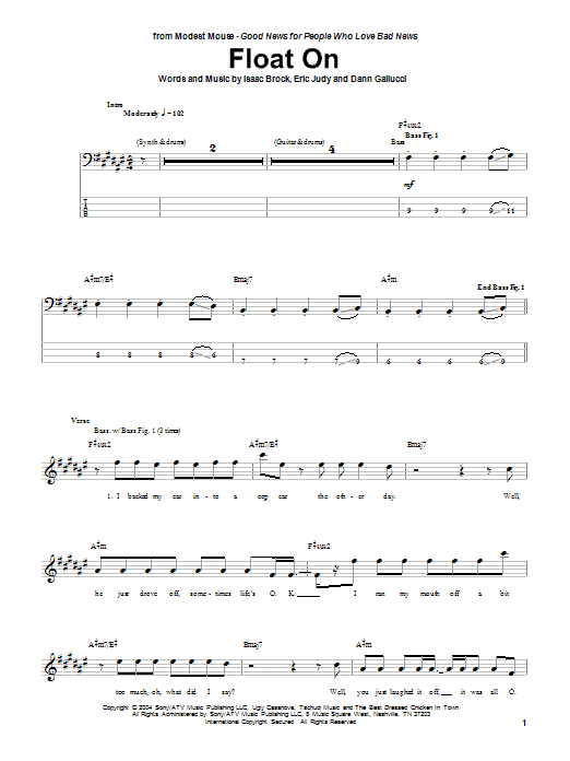 Float On (Bass Guitar Tab)