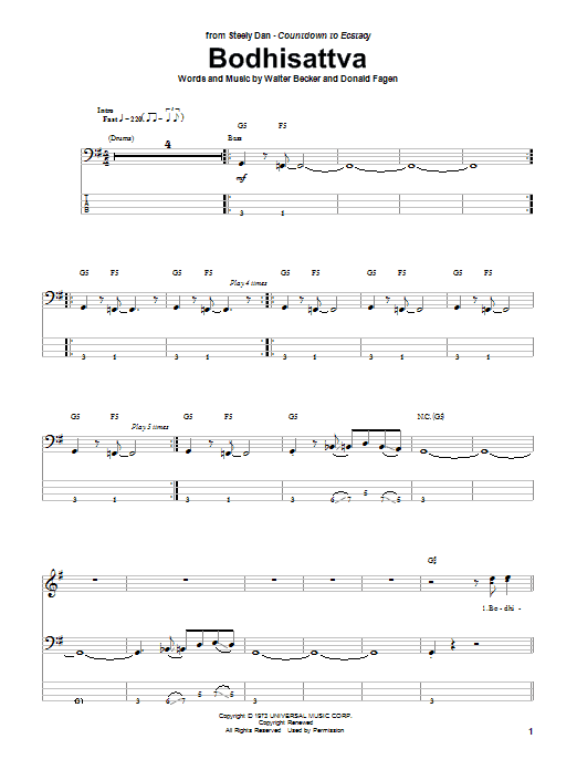 Bodhisattva (Bass Guitar Tab)
