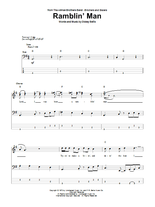 Ramblin\' Man by Allman Brothers Band - Bass Tab - Guitar Instructor