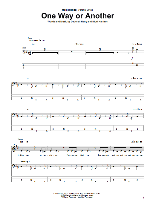 Tablature guitare One Way Or Another de Blondie - Tablature Basse
