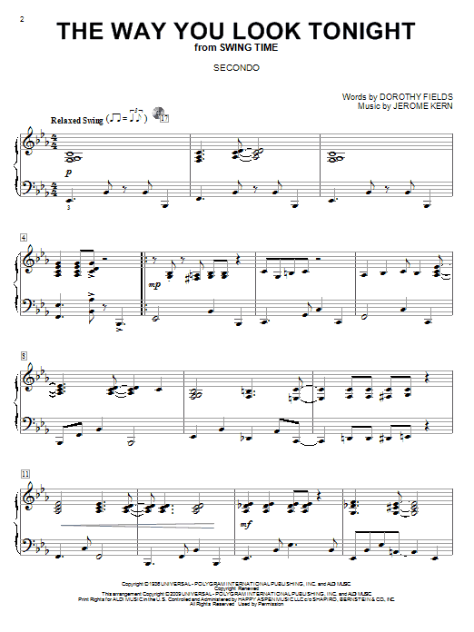 Partition piano The Way You Look Tonight de Jerome Kern - 4 mains
