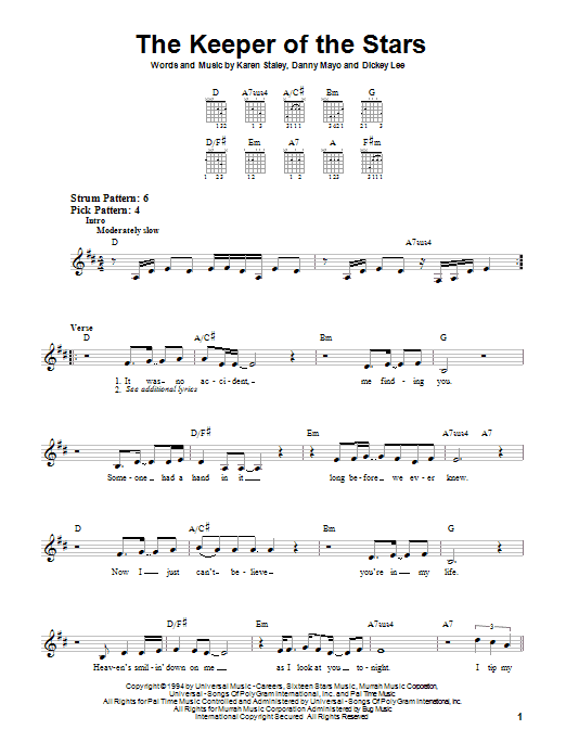 Tablature guitare The Keeper Of The Stars de Tracy Byrd - Tablature guitare facile