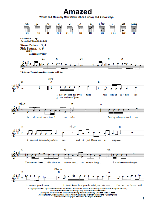 Amazed Sheet Music