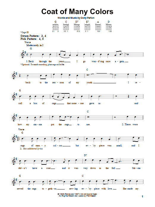 Tablature guitare Coat Of Many Colors de Dolly Parton - Tablature guitare facile