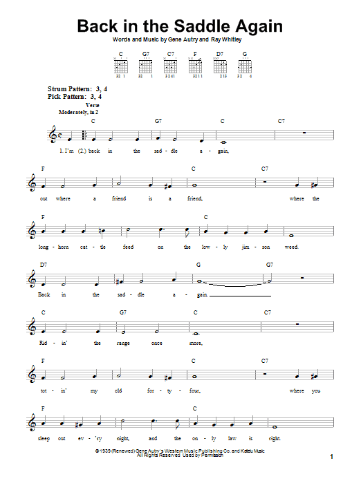 Tablature guitare Back In The Saddle Again de Gene Autry - Tablature guitare facile