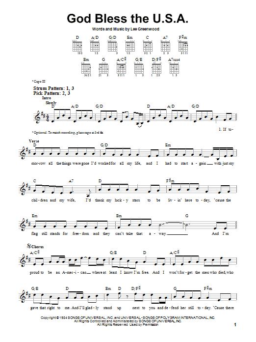 Tablature guitare God Bless The U.S.A. de Lee Greenwood - Tablature guitare facile