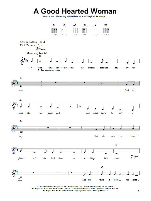 Tablature guitare A Good Hearted Woman de Waylon Jennings & Willie Nelson - Tablature guitare facile