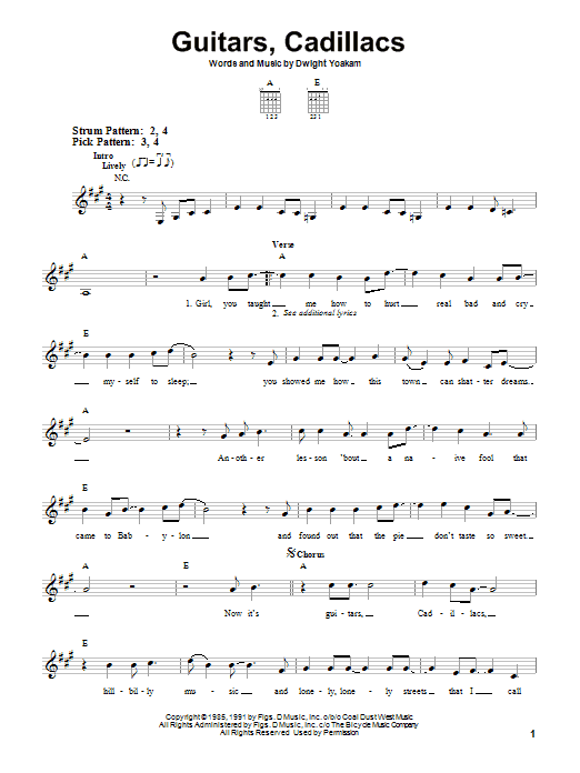 Tablature guitare Guitars, Cadillacs de Dwight Yoakam - Tablature guitare facile