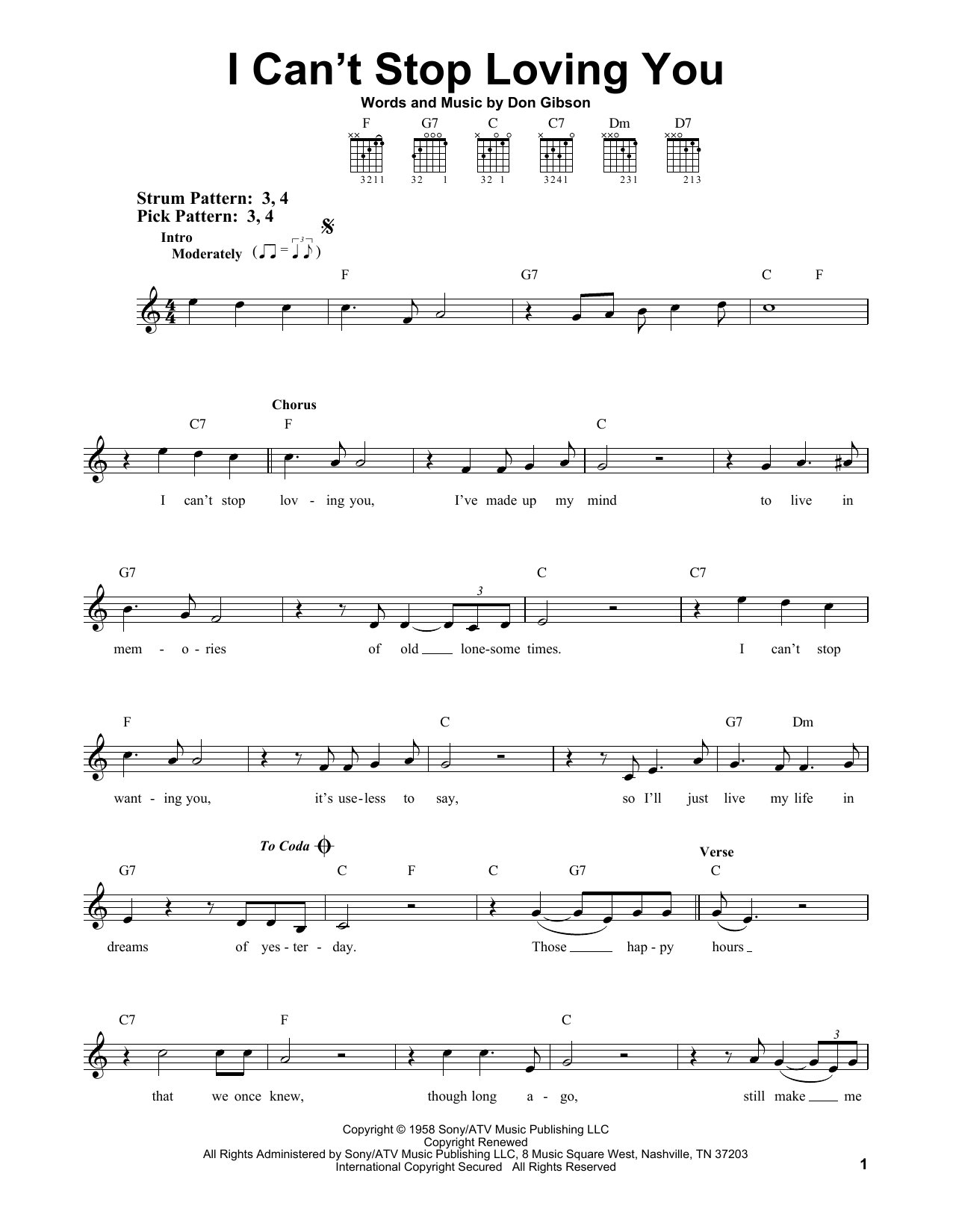 Tablature guitare I Can't Stop Loving You de Don Gibson - Tablature guitare facile