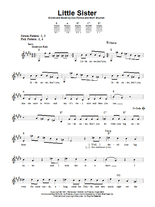 Tablature guitare Little Sister de Dwight Yoakam - Tablature guitare facile