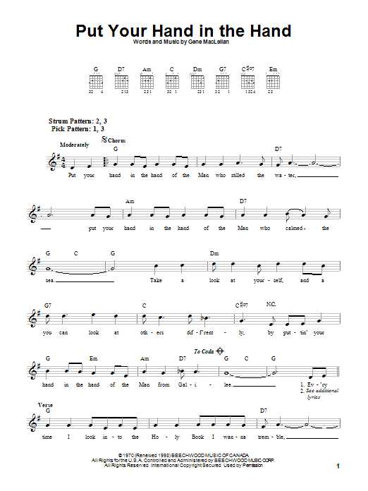 Put Your Hand In The Hand (Easy Guitar)