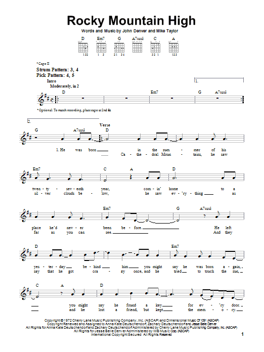 Tablature guitare Rocky Mountain High de John Denver - Tablature guitare facile