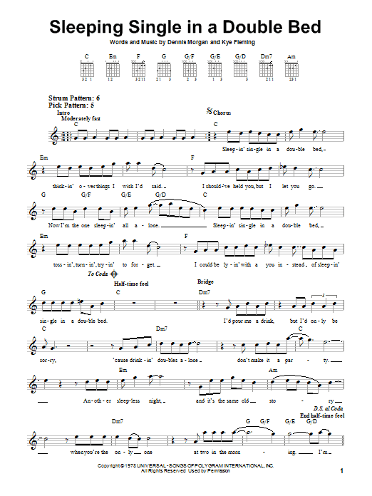 Tablature guitare Sleeping Single In A Double Bed de Barbara Mandrell - Tablature guitare facile