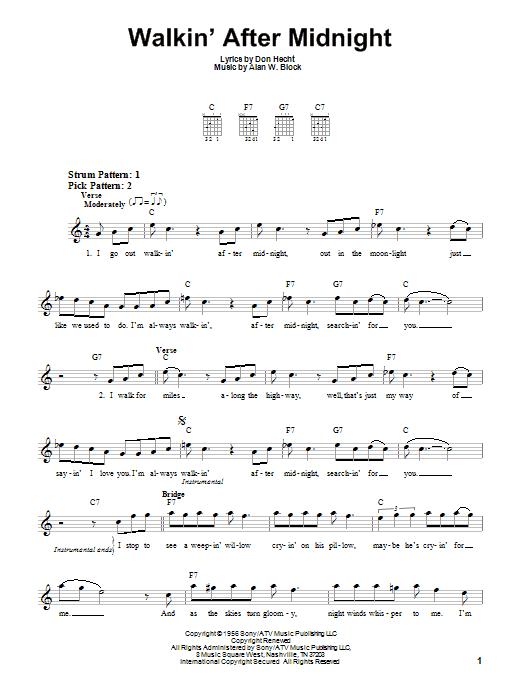 Walkin' After Midnight (Easy Guitar)