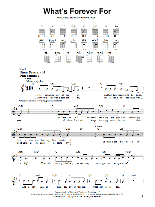 Tablature guitare What's Forever For de Michael Martin Murphey - Tablature guitare facile