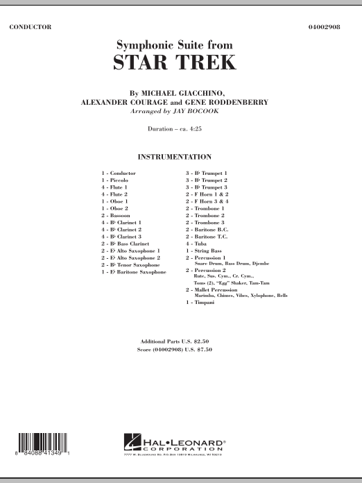 Symphonic Suite from Star Trek (COMPLETE) sheet music for concert band by Jay Bocook, Alexander Courage, Gene Roddenberry and Michael Giacchino. Score Image Preview.