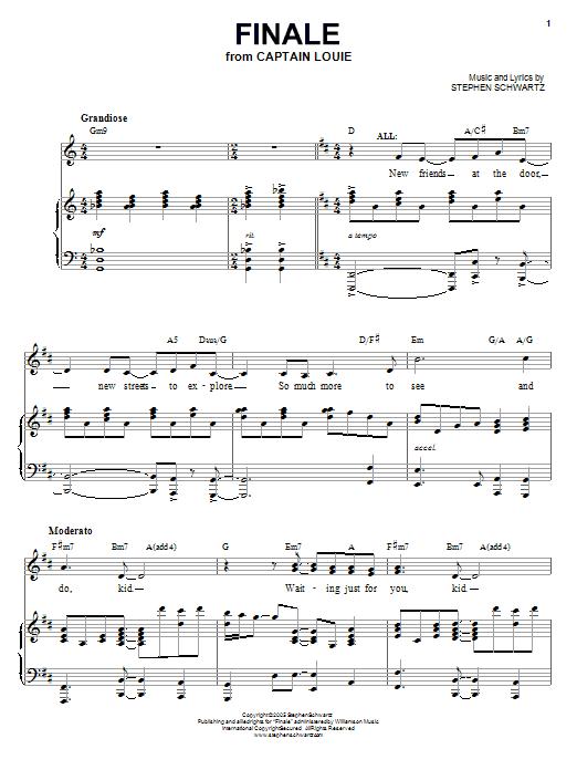 Partition piano Finale de Stephen Schwartz - Piano Voix Guitare (Mélodie Main Droite)