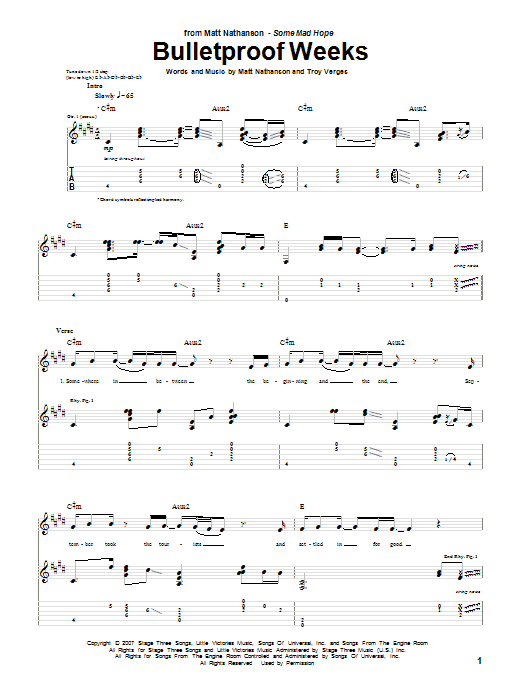 Bulletproof Weeks Sheet Music