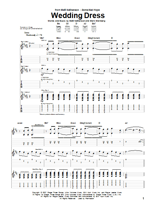 Tablature guitare Wedding Dress de Matt Nathanson - Tablature Guitare
