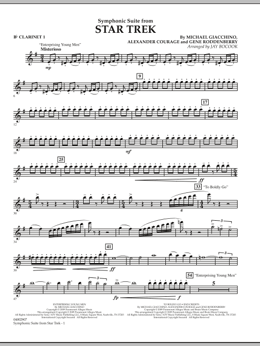 Symphonic Suite from Star Trek - Bb Clarinet 1 (Concert Band)