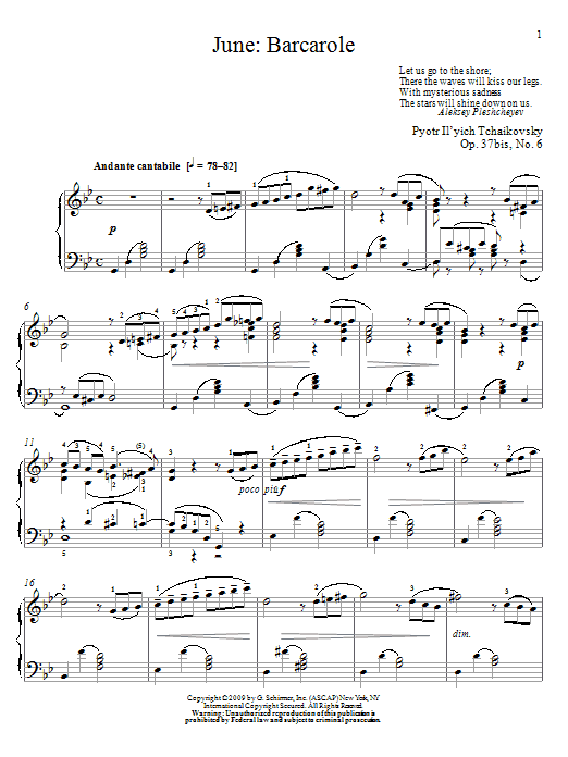 Partition piano Barcarole de June - Piano Solo