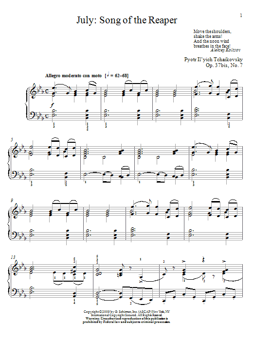 Song Of The Reaper Sheet Music