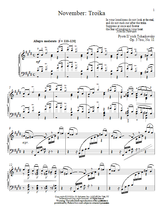 November: Troika (Piano Solo)