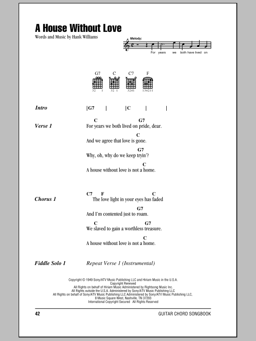 A House Without Love Sheet Music
