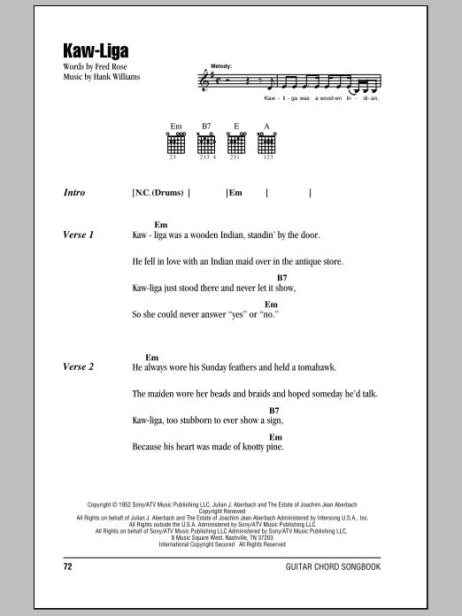 Kaw-Liga Sheet Music