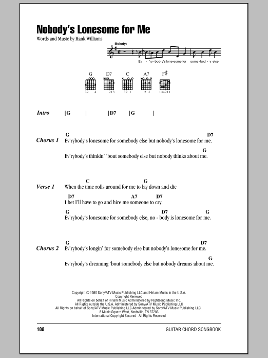 Nobody's Lonesome For Me Sheet Music