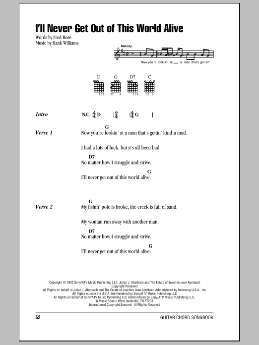 I'll Never Get Out Of This World Alive Sheet Music