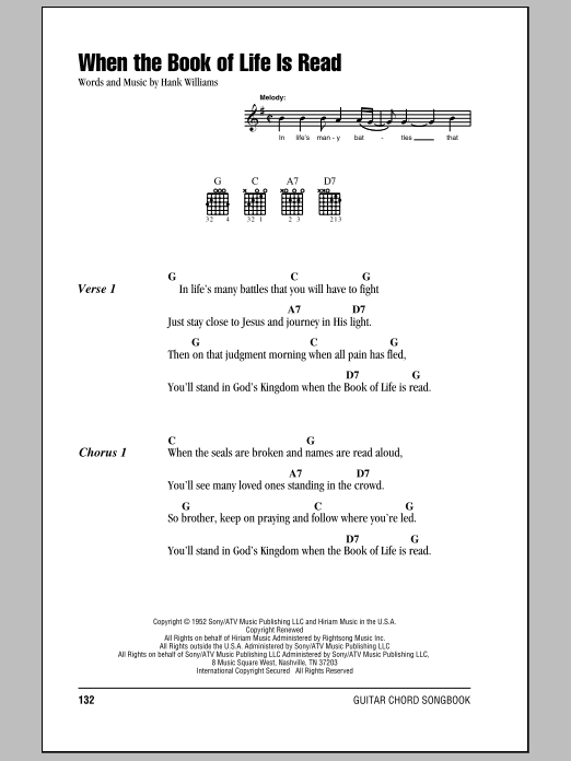 When The Book Of Life Is Read (Guitar Chords/Lyrics)