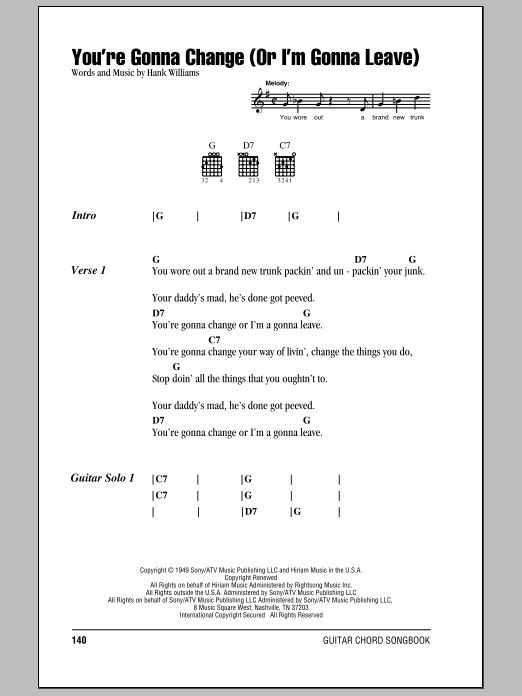 You're Gonna Change (Or I'm Gonna Leave) Sheet Music