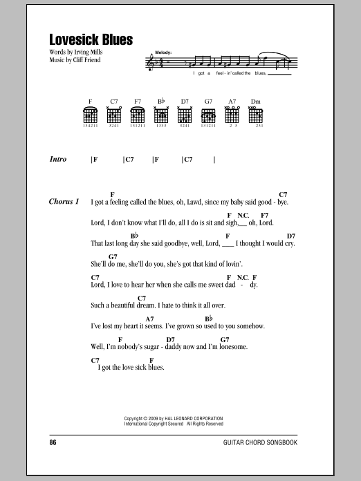 Lovesick Blues Sheet Music