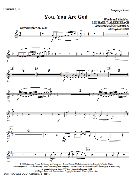 You, You Are God - Clarinet 1 & 2 Sheet Music