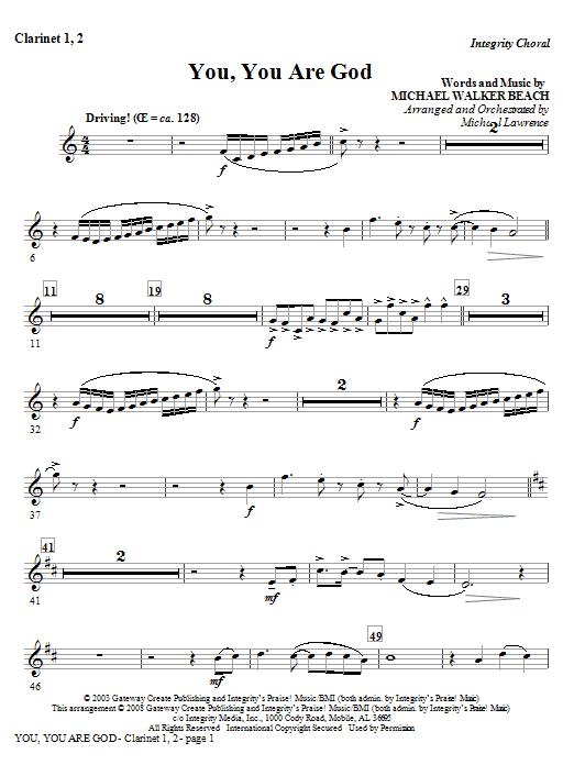 You, You Are God - Clarinet 1 & 2 (Choir Instrumental Pak)