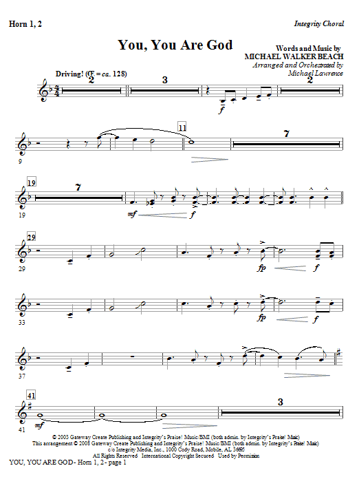 You, You Are God - Horn 1 & 2 Sheet Music